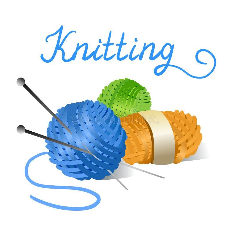 毛线和编织针丝球  皇族释放例证