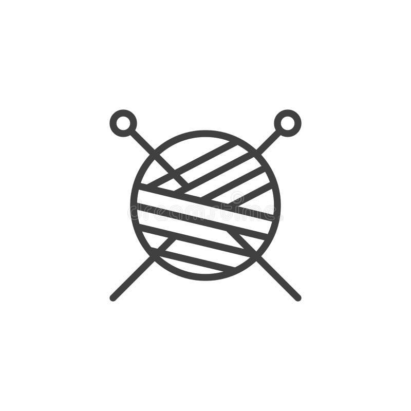 毛线球和编织针排行象 皇族释放例证