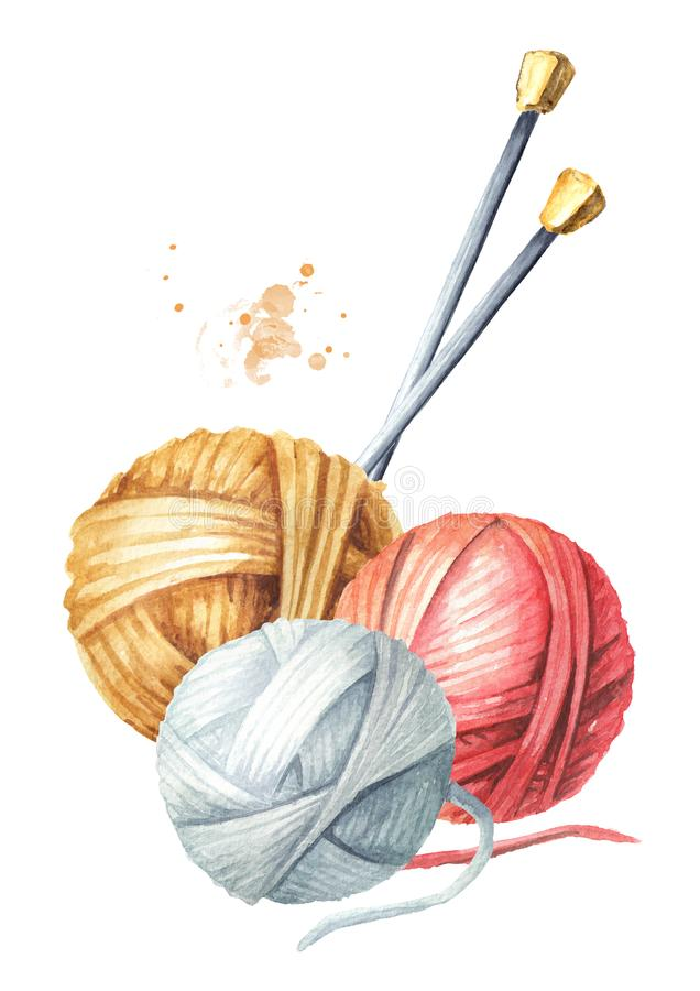 毛线球和编织针 手工编织的概念 E 库存例证