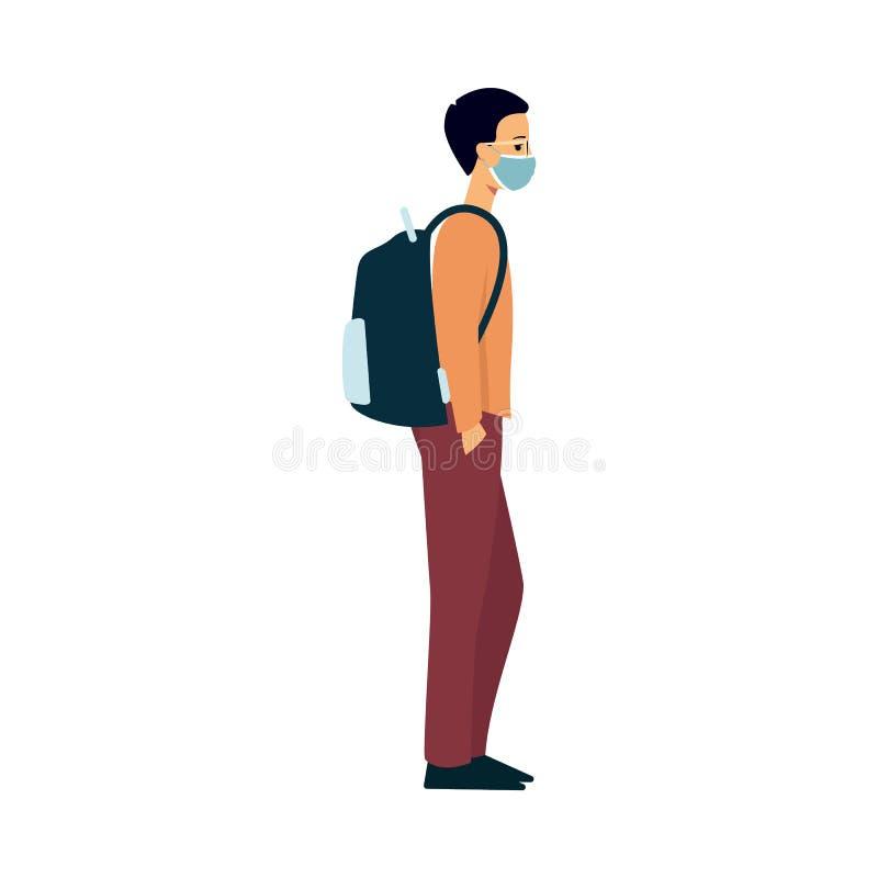 毛线衣、裤子和背包的一个年轻白种人人在他的面孔的一个医疗面具站立 向量例证