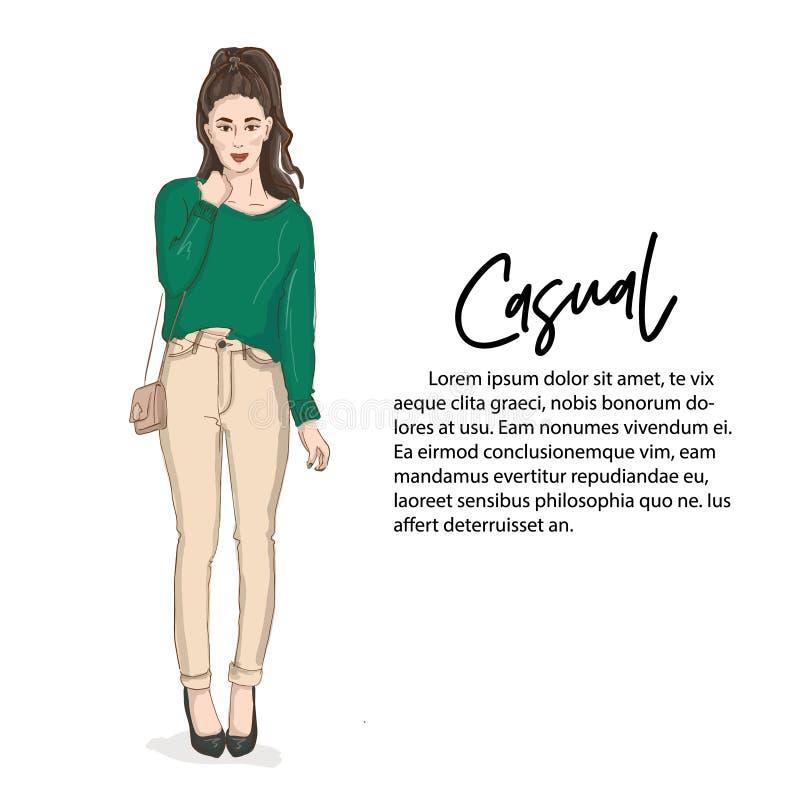 毛线衣和牛仔裤的美丽的少妇有袋子的 手拉的偶然时装杂志神色 摆在女孩的时装模特儿 向量例证