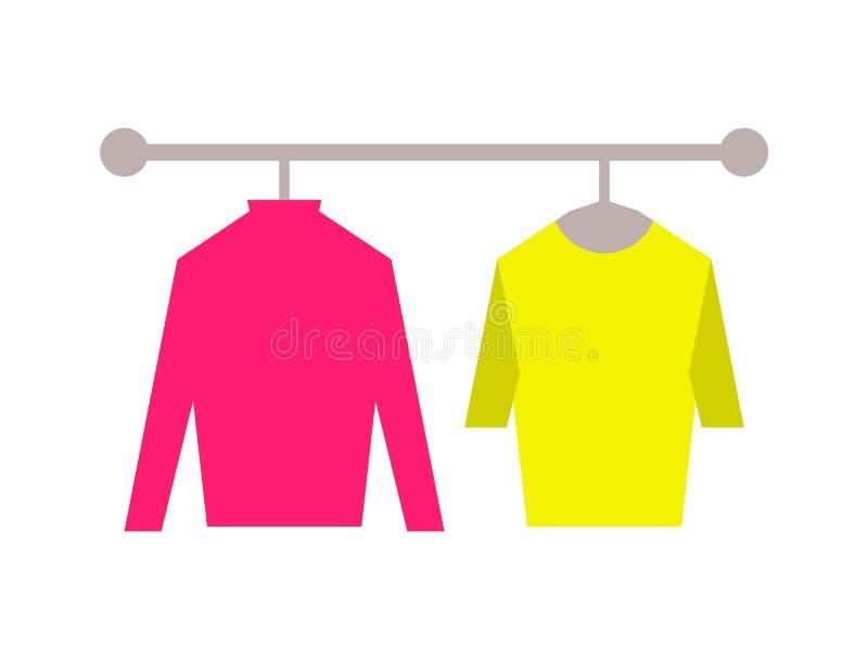 毛线衣服装店集合传染媒介例证 向量例证