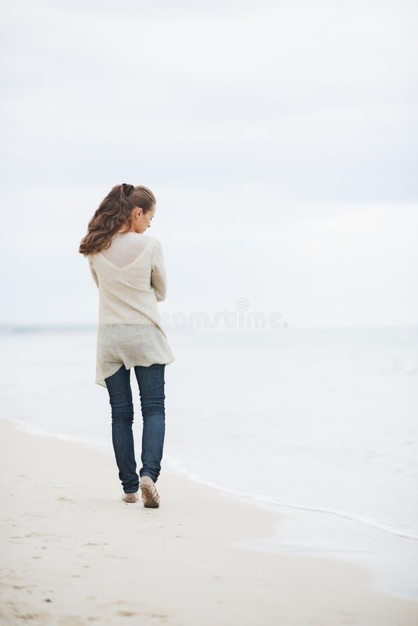 毛线衣的体贴的妇女走在海滩的 库存照片