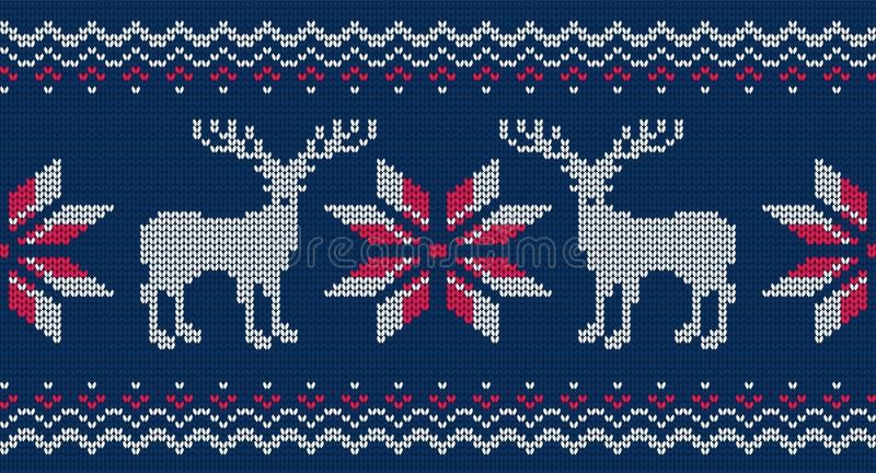 毛线衣的被编织的无缝的样式 与鹿的传染媒介背景 皇族释放例证