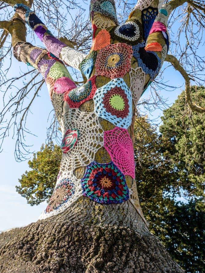 毛线被轰炸的树 免版税库存照片