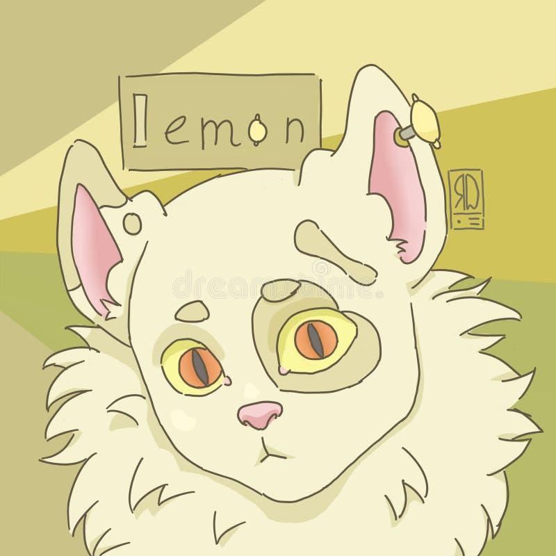 毛茸的猫柠檬数字艺术品画象 向量例证