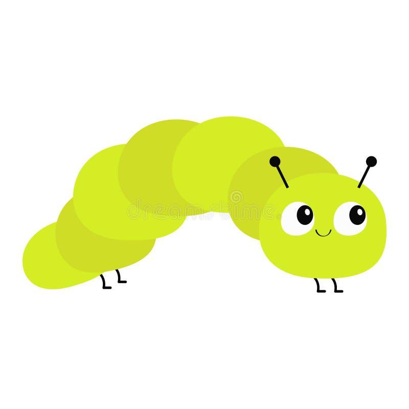 毛虫昆虫象 婴孩汇集 爬行的catapillar臭虫 逗人喜爱的动画片滑稽的字符 表面微笑 平的设计 Colorf 库存例证