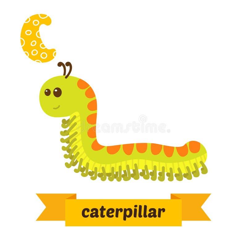 毛虫 C信件 逗人喜爱的在传染媒介的儿童动物字母表 库存例证