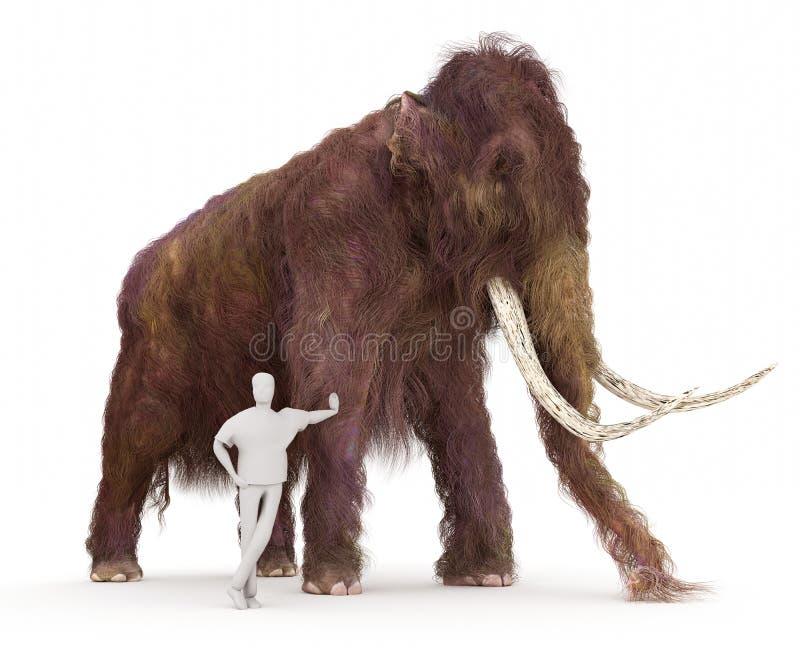毛象和人的大小比较 库存例证