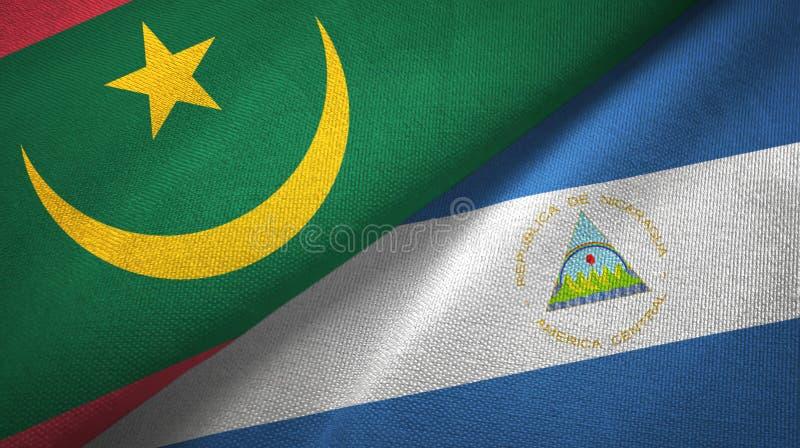 毛里塔尼亚和尼加拉瓜两旗子纺织品布料,织品纹理 向量例证