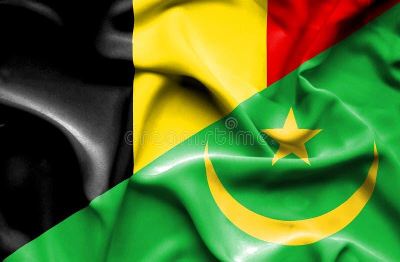 毛里塔尼亚和比利时的挥动的旗子 皇族释放例证