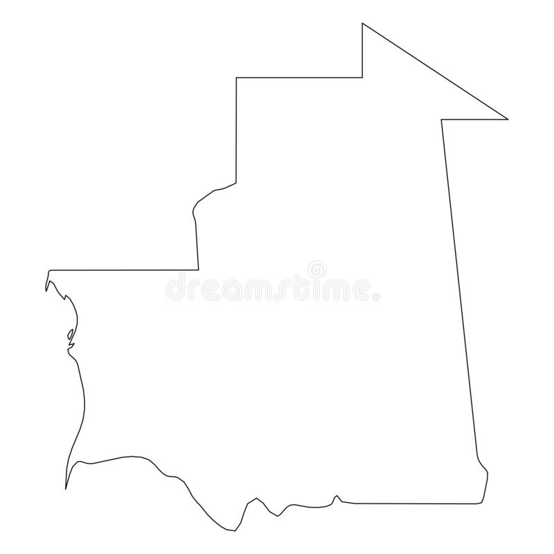 毛里塔尼亚-国家区域坚实黑概述边界地图  简单的平的传染媒介例证 向量例证