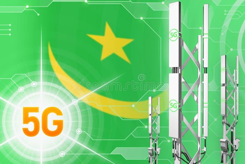毛里塔尼亚5G工业例证、巨大的多孔的网络帆柱或者塔在高科技背景与旗子- 3D例证 库存例证