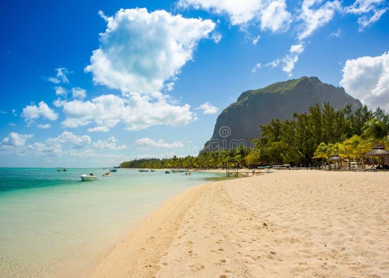 毛里求斯海岛风景全景  免版税库存照片