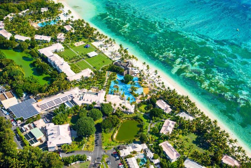 毛里求斯海岛鸟瞰图  图库摄影