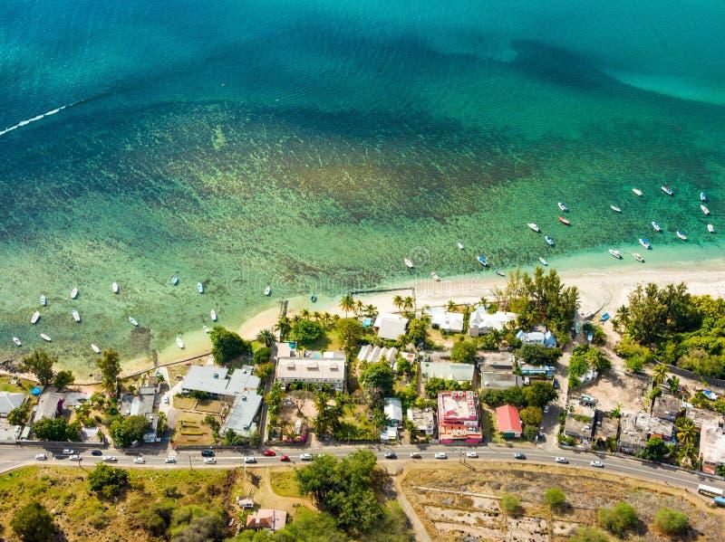 毛里求斯海岛鸟瞰图  库存图片