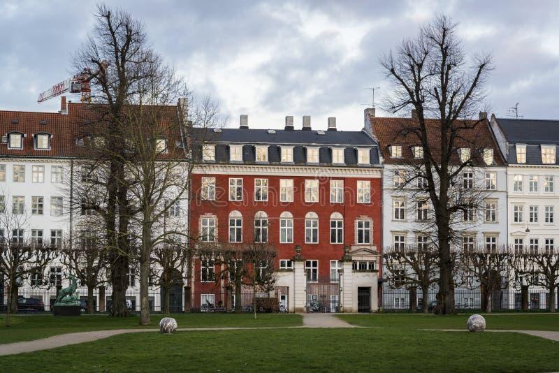 毫华连栋房屋,哥本哈根,丹麦 免版税库存图片