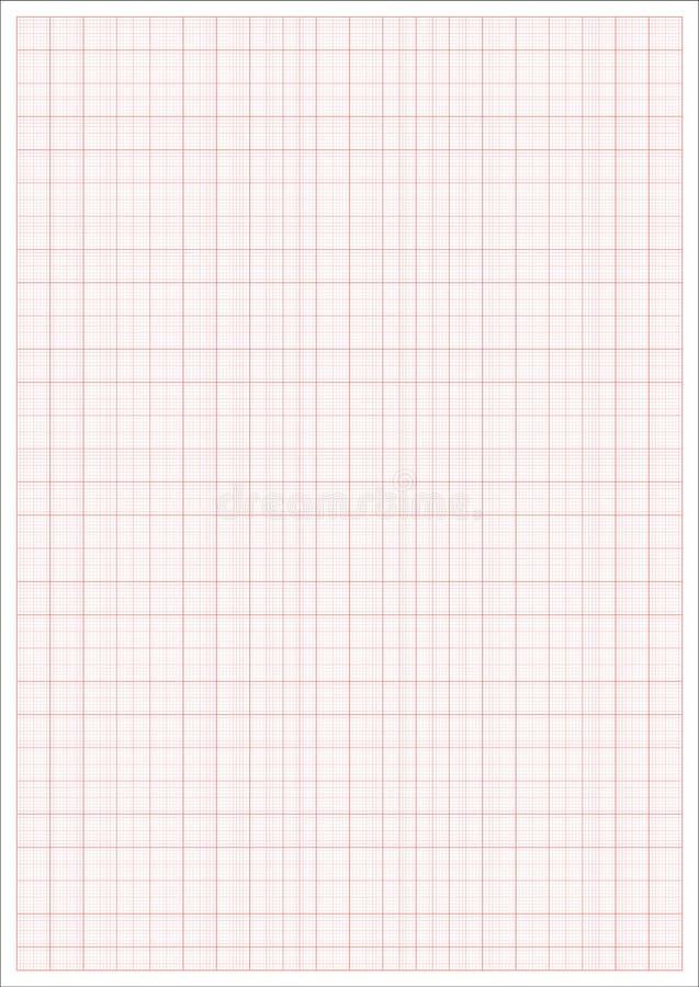 毫米纸 Millimeterpapier栅格红色统治者 a4图表传染媒介板料 皇族释放例证