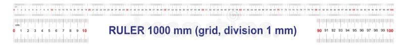 1000毫米统治者  100厘米统治者  1米统治者  定标栅格 价值分裂1 mm 向量例证