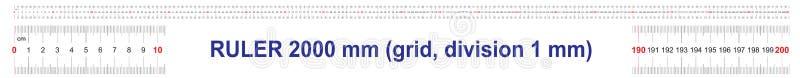 2000毫米统治者  200厘米统治者  2米统治者  定标栅格 价值分裂1 mm 向量例证