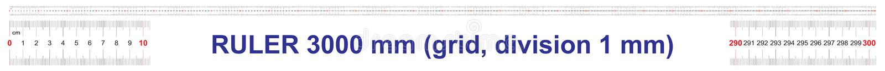3000毫米统治者  300厘米统治者  3米统治者  定标栅格 价值分裂1 mm 向量例证