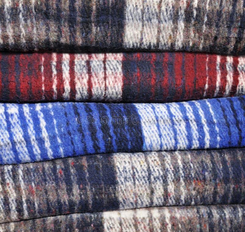 毯子被折叠的栈 免版税库存照片