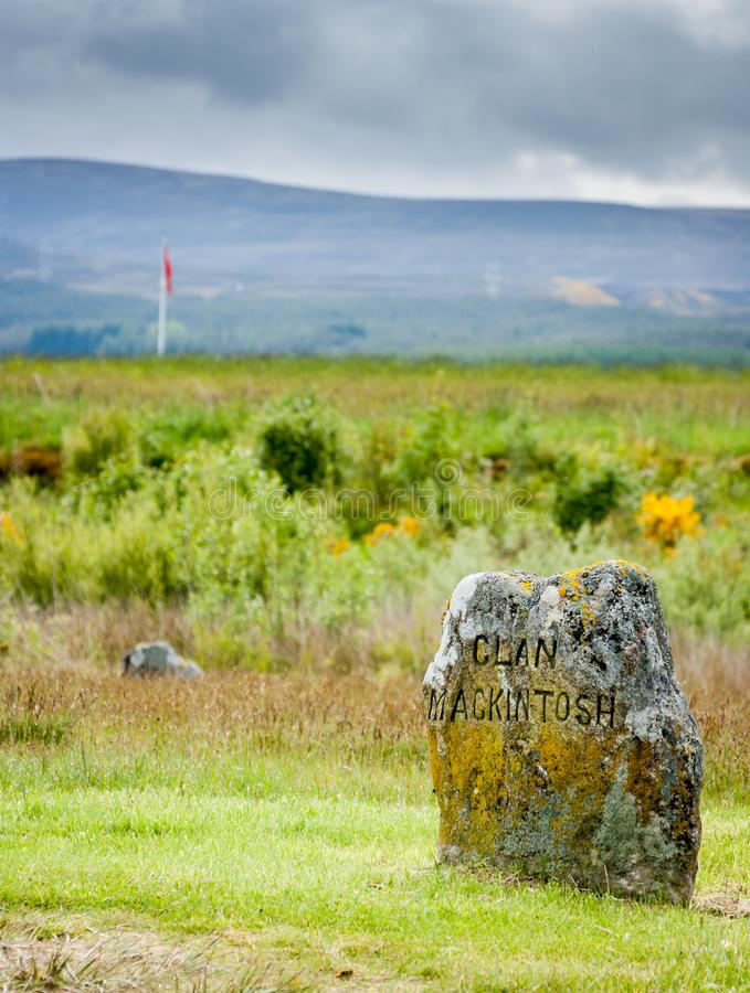 氏族在Culloden战场的Macklintosh纪念品 库存照片