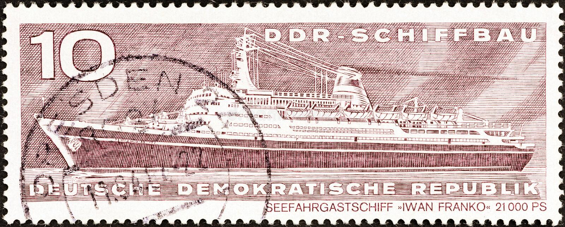 民主德国-大约1971年:在德国展示划线员打印的邮票伊冯Franko,大约1971年 库存图片