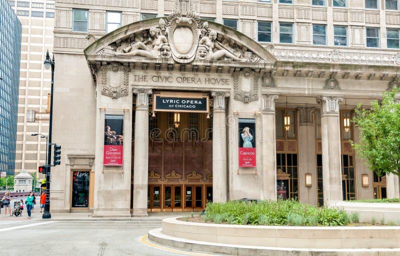 民事歌剧院在芝加哥,今天它是芝加哥抒情歌歌剧的永久家  免版税库存照片