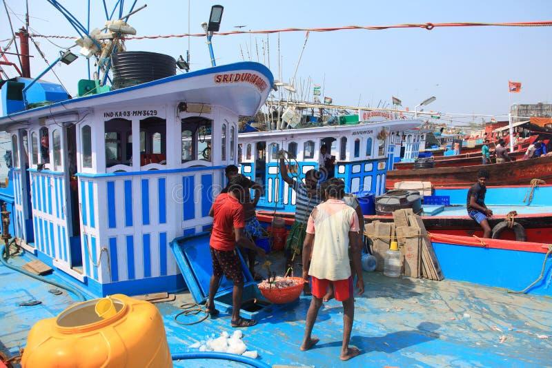 民工卸载从小船的鱼 免版税库存图片