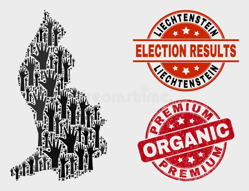 民意测验列支敦士登地图的构成和困厄优质有机邮票 库存例证