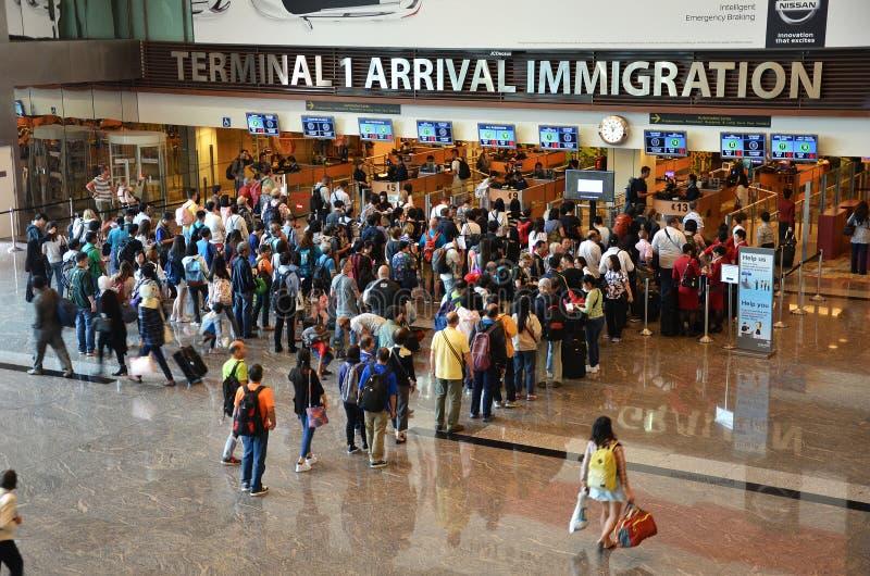 移民控制看法在樟宜S的国际机场 免版税库存照片