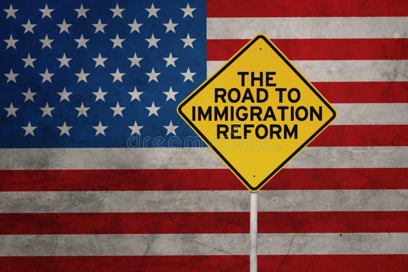 移民改革的词与美国旗子的 向量例证