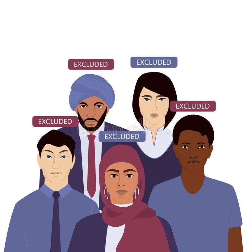 民族歧视概念网或广告标语 组 向量例证