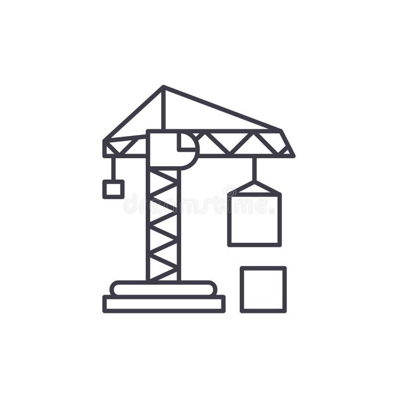 民用建筑用起重机线象概念 民用建筑用起重机传染媒介线性例证,标志,标志 库存例证