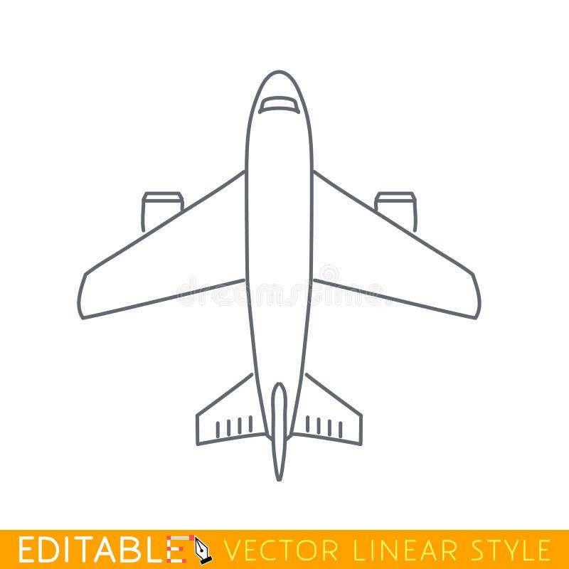 民用飞机 顶视图 在线性样式的编辑可能的传染媒介象 库存例证