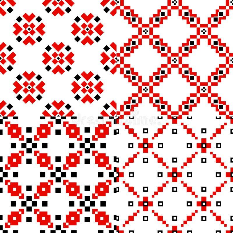 民间几何样式集合 向量例证