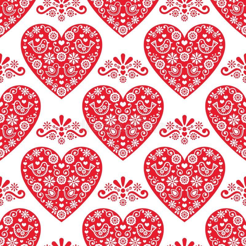 民间心脏传染媒介无缝的样式,与红色心脏的斯堪的纳维亚华伦泰` s天设计在白色背景 库存例证