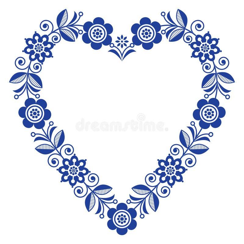 民间心脏传染媒介设计,斯堪的纳维亚花饰心脏形状,与花的传统设计在海军青的生日或婚姻 库存例证
