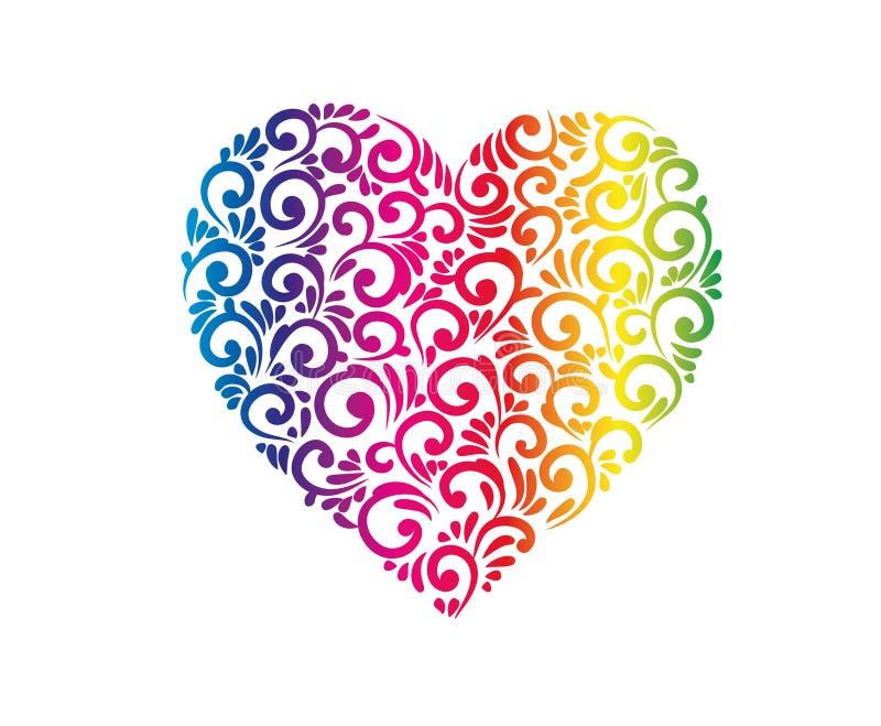 民间装饰了与彩虹梯度的心脏 皇族释放例证
