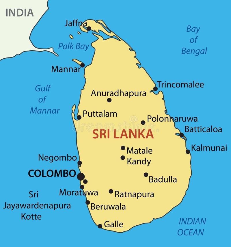 民主党社会主义斯里兰卡共和国-地图 库存例证
