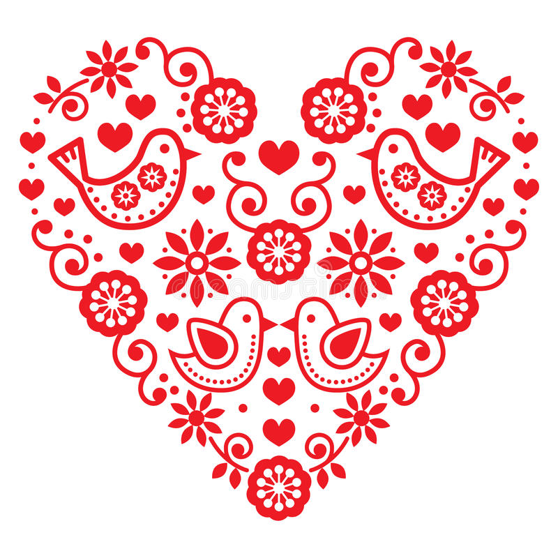 民间艺术情人节心脏-爱,婚礼,生日贺卡 库存例证