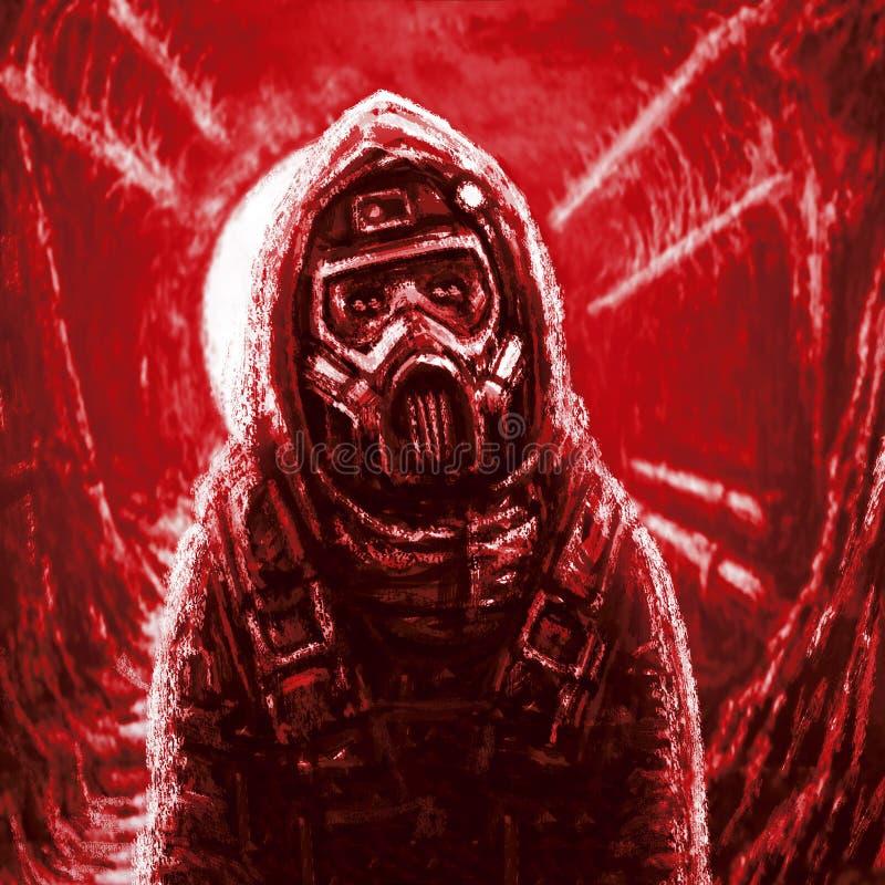 气体人屏蔽 传染地区 红颜色 免版税库存照片
