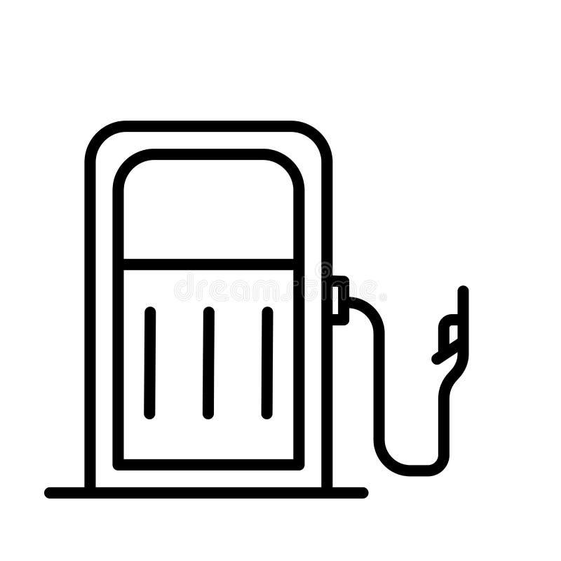 气体在白色背景、气体标志、线性标志和冲程设计元素隔绝的象传染媒介在概述样式 皇族释放例证