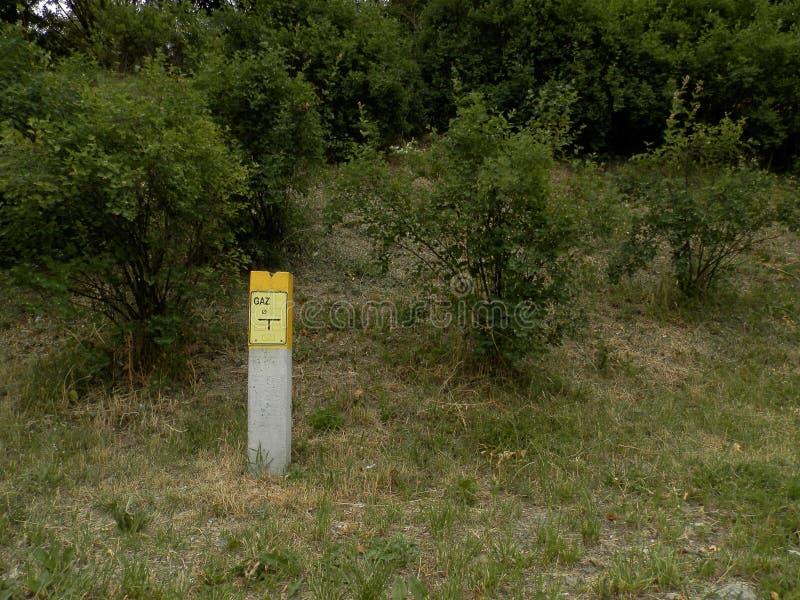 气体岗位和灌木 免版税库存图片