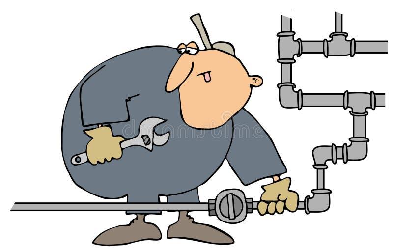 气体管道工启用的阀门 向量例证