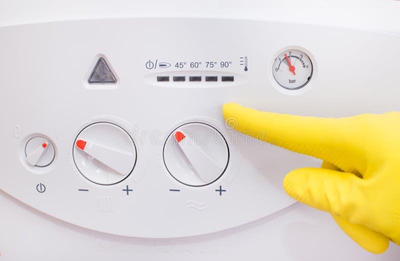 气体锅炉控制盘区 免版税库存照片