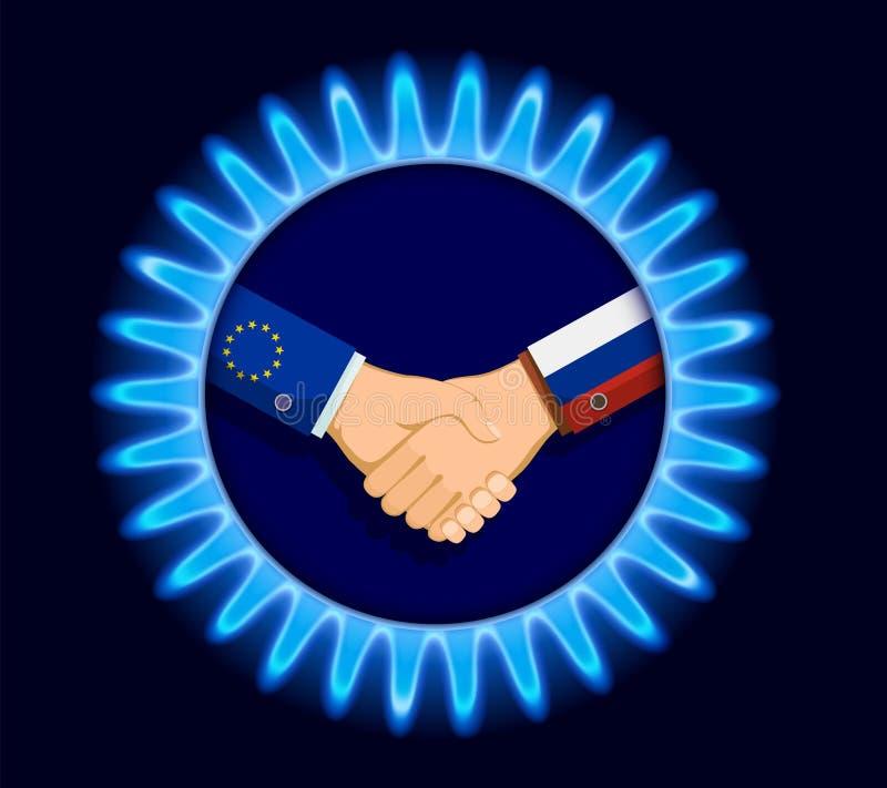 气体nord在俄罗斯和欧盟之间的小河事务 手 皇族释放例证