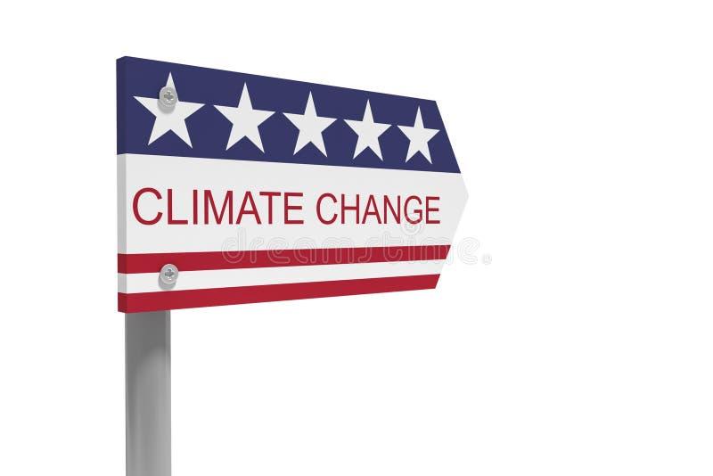 气候变化与美国旗子,3d的方向标在白色背景隔绝的例证 库存例证