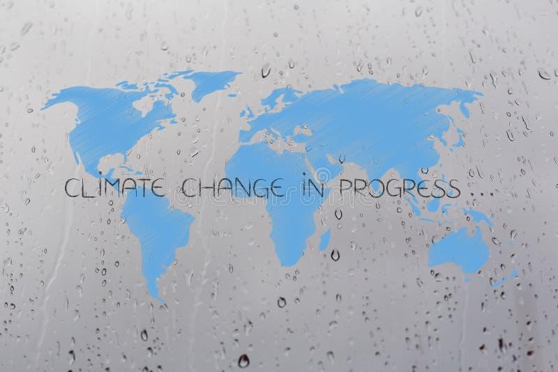 气候变化与说明的世界地图在雨小滴backgro 皇族释放例证